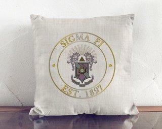 Sigma Pi Crest Linen Pillow