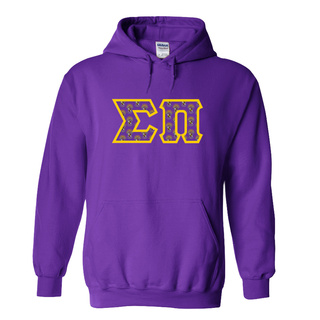 Sigma Pi Fraternity Crest - Shield Twill Letter Hooded Sweatshirt