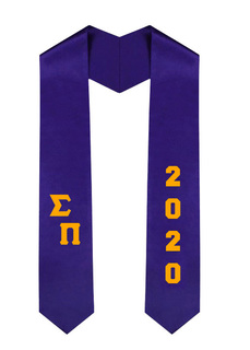 Sigma Pi Greek Diagonal Lettered Graduation Sash Stole With Year