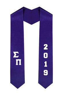 Sigma Pi Greek Diagonal Lettered Graduation Sash Stole With Year