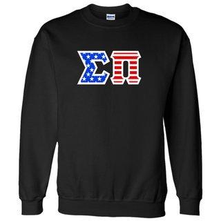 DISCOUNT-Sigma Pi Greek Letter American Flag Crewneck