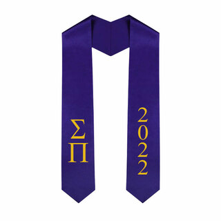 Sigma Pi Greek Lettered Graduation Sash Stole With Year - Best Value
