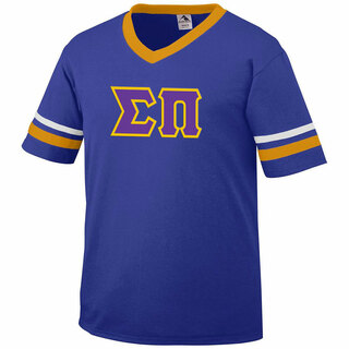 DISCOUNT-Sigma Pi Jersey With Greek Applique Letters