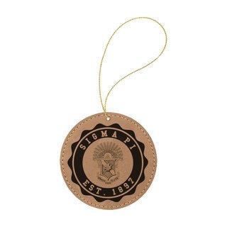 Sigma Pi Leatherette Crest Holiday Ornament