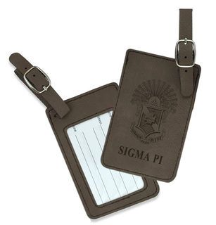 Sigma Pi Crest Leatherette Luggage Tag