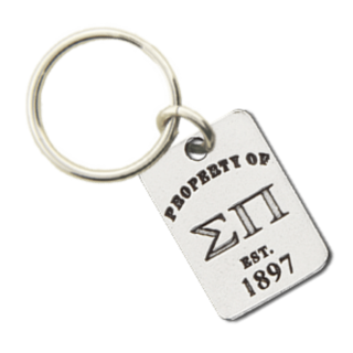 Sigma Pi Property of Tag Keychain
