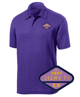 DISCOUNT-Sigma Pi Woven Emblem Greek Contender Polo