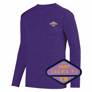 DISCOUNT-Sigma Pi Woven Emblem Greek Dry Fit Tonal Long Sleeve Tee