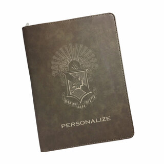 Sigma Pi Zipper Leatherette Portfolio with Notepad