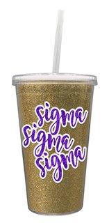 Sigma Sigma Sigma 16 OZ Sorority Newport Glitter Tumbler