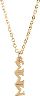 Sigma Sigma Sigma 22 k Yellow Gold Plated Lavaliere Necklace - ON SALE!