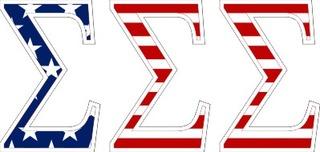 "Sigma Sigma Sigma American Flag Greek Letter Sticker - 2.5"" Tall"