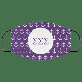 Sigma Sigma Sigma Anchors Face Mask