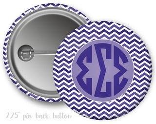 Sigma Sigma Sigma Chevron Monogram Button