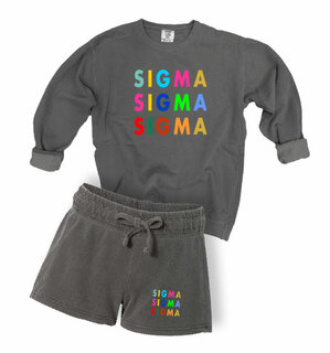 Sigma Sigma Sigma Comfort Colors Crew and Short Set