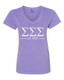 Sigma Sigma Sigma Comfort Colors Custom V-Neck T-Shirt