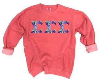 Sigma Sigma Sigma Comfort Colors Lettered Crewneck Sweatshirt