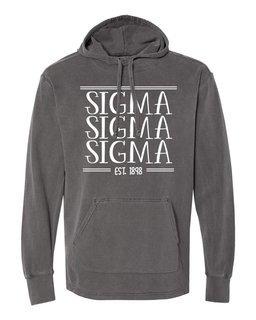 Sigma Sigma Sigma Comfort Colors Terry Scuba Neck Custom Hooded Pullover