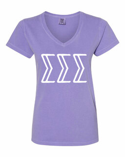 Sigma Sigma Sigma Comfort Colors V-Neck T-Shirt