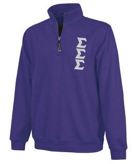 Sigma Sigma Sigma Crosswind Quarter Zip Twill Lettered Sweatshirt