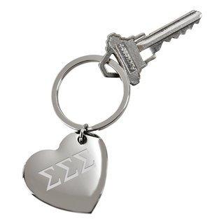 Sigma Sigma Sigma Cupid Heart Shaped Key Ring