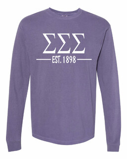 Sigma Sigma Sigma Custom Greek Lettered Long Sleeve T-Shirt - Comfort Colors