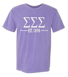 Sigma Sigma Sigma Custom Greek Lettered Short Sleeve T-Shirt - Comfort Colors