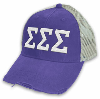 Sigma Sigma Sigma Distressed Trucker Hat
