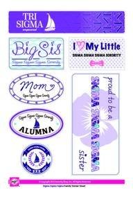 Sigma Sigma Sigma Family Sticker Sheet