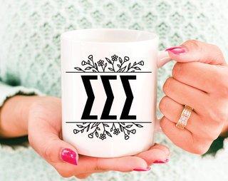 Sigma Sigma Sigma Floral Letters Mug