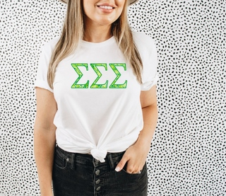 Sigma Sigma Sigma Green Fizz Lettered Short Sleeve T-Shirt