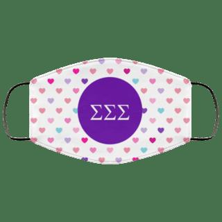 Sigma Sigma Sigma Hearts Face Mask