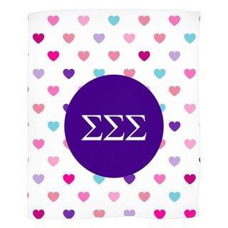 Sigma Sigma Sigma Hearts Fleece Blanket