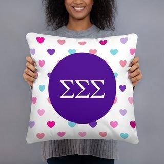 Sigma Sigma Sigma Hearts Pillow