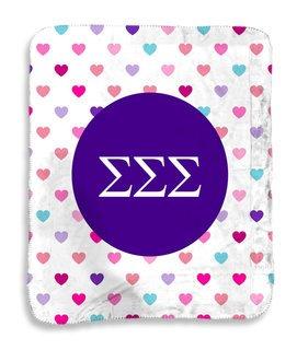Sigma Sigma Sigma hearts Sherpa Lap Blanket