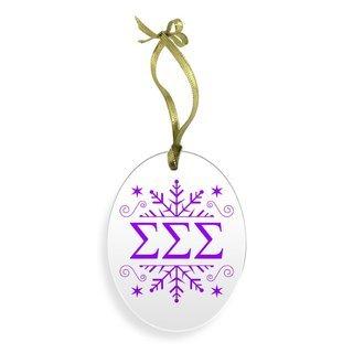 Sigma Sigma Sigma Holiday Color Snowflake Christmas Ornament