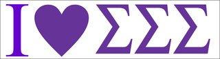 Sigma Sigma Sigma I Love Bumper Sticker