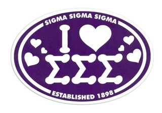 Sigma Sigma Sigma I Love Sorority Sticker - Oval