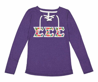 Sigma Sigma Sigma LAT - Sorority Fine Jersey Lace-Up Long Sleeve T-Shirt