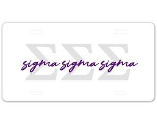 Sigma Sigma Sigma Letter Script License Plate