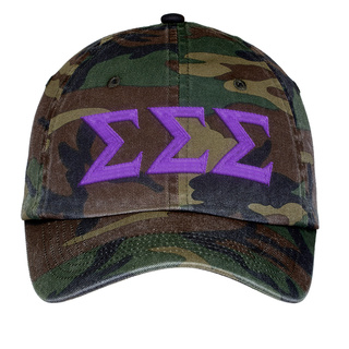 Sigma Sigma Sigma Lettered Camouflage Hat