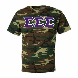 DISCOUNT-Sigma Sigma Sigma Lettered Camouflage T-Shirt
