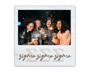 Sigma Sigma Sigma Letters Script Block Picture Frame