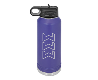 Sigma Sigma Sigma Letters Stainless Water Bottle