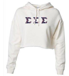 Sigma Sigma Sigma Lightweight Hooded Pullover Crop Sweatshirt