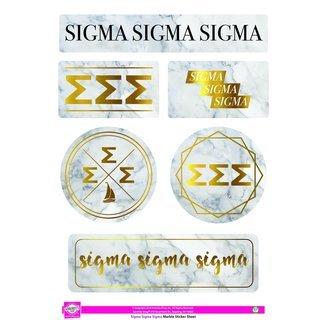 Sigma Sigma Sigma Marble Sticker Sheet
