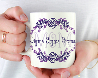 Sigma Sigma Sigma Mom Floral Mug