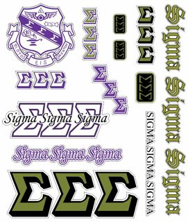 Sigma Sigma Sigma Multi Greek Decal Sheet