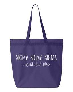 Sigma Sigma Sigma New Established Tote Bag