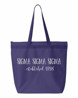 Sigma Sigma Sigma New Established Tote Bag